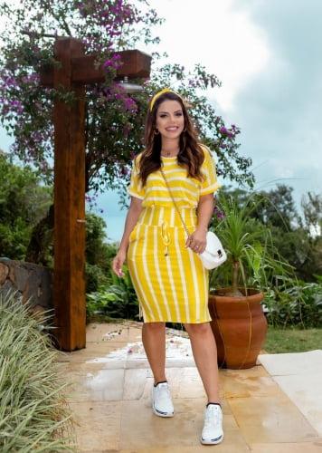 Conjunto Moda Evangelica Amarelo Listrado com detalhes em Bolso e Amarração Boutique K 5056