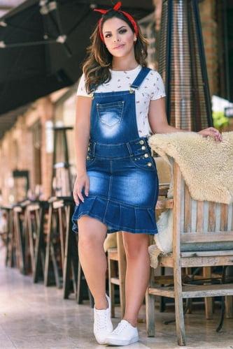 Jardineira Jeans Moda Evangelica EJ