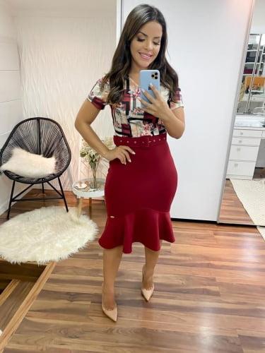 Vestido Barra Sino Moda Evangelica Vermelho Estampado com detalhe em Cinto KC