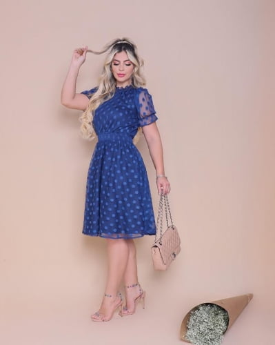 Vestido Lady Like Moda Evangelica Azul em Tule Póa RP