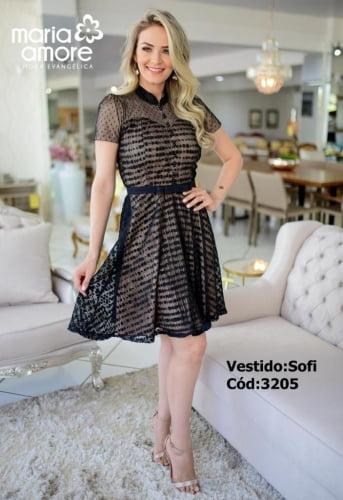 Vestido Lady Like Moda Evangelica em renda com detalhes em Pérolas Maria Amore 3205