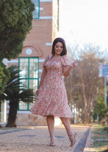Vestido Lady Like Moda Evangelica em Tule Estampado Forrado com Latex acinturado RP