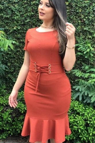 Vestido Moda Evangélica com detalhe em amarração na Cintura DM