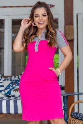 Vestido Tubinho Moda Evangelica com detalhes em botões Boutique K 0230