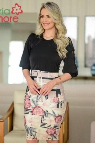 Vestido Tubinho Moda Evangelica com saia estampada Maria Amore 3186