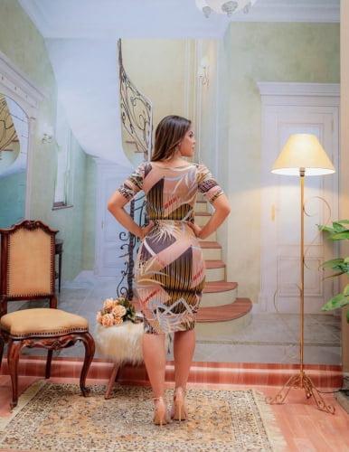 Vestido Tubinho Moda Evangelica Decote Princesa Boutique K 5020