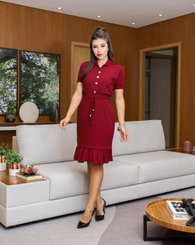 Vestido Viscose com Elastano Moda Evangelica com detalhes em botões RP