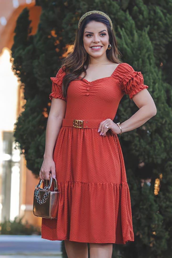 Vestido Lady Like Moda Evangelica em Malha Trabalhada com Cinto RP