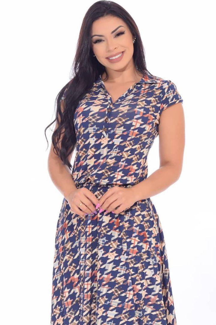 Vestido Lady Like Moda Evangelica Estampado em Malha com detalhe em Gola DM LF